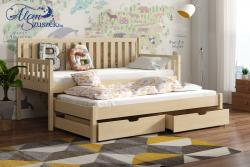 LAURA tömör fa kétszemélyes gyerekágy kihúzható ággyal ágyneműtartóval 4.Kép