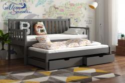 LAURA tömör fa kétszemélyes gyerekágy kihúzható ággyal ágyneműtartóval 5.Kép