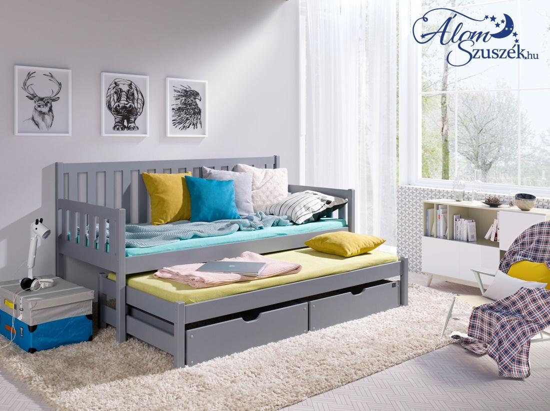 LAURA tömör fa kétszemélyes gyerekágy kihúzható ággyal ágyneműtartóval