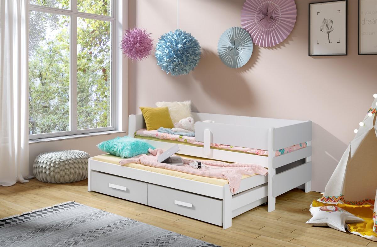 LEILA 2 bútorlappal kombinált kétszemélyes gyerekágy kihúzható ággyal ágyneműtartóval