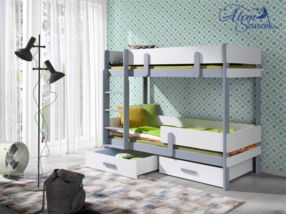 LEILA E bútorlappal kombinált tömör fa emeletes gyerekágy ágyneműtartóval