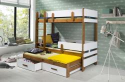 LEILA 3 bútorlappal kombinált tömör fa háromszemélyes emeletes gyerekágy ágyneműtartóval 2.Kép