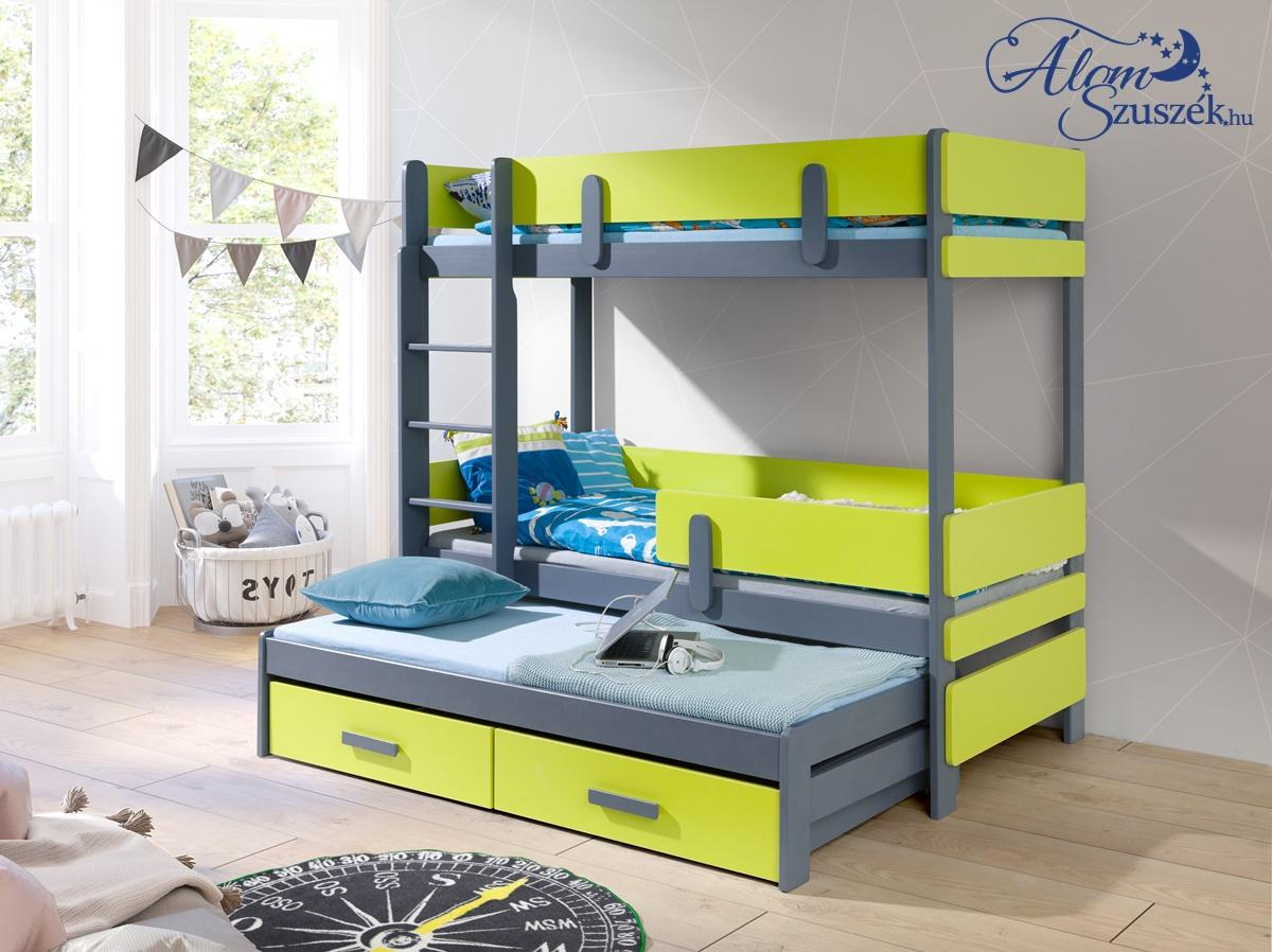 LEILA 3 bútorlappal kombinált tömör fa háromszemélyes emeletes gyerekágy ágyneműtartóval