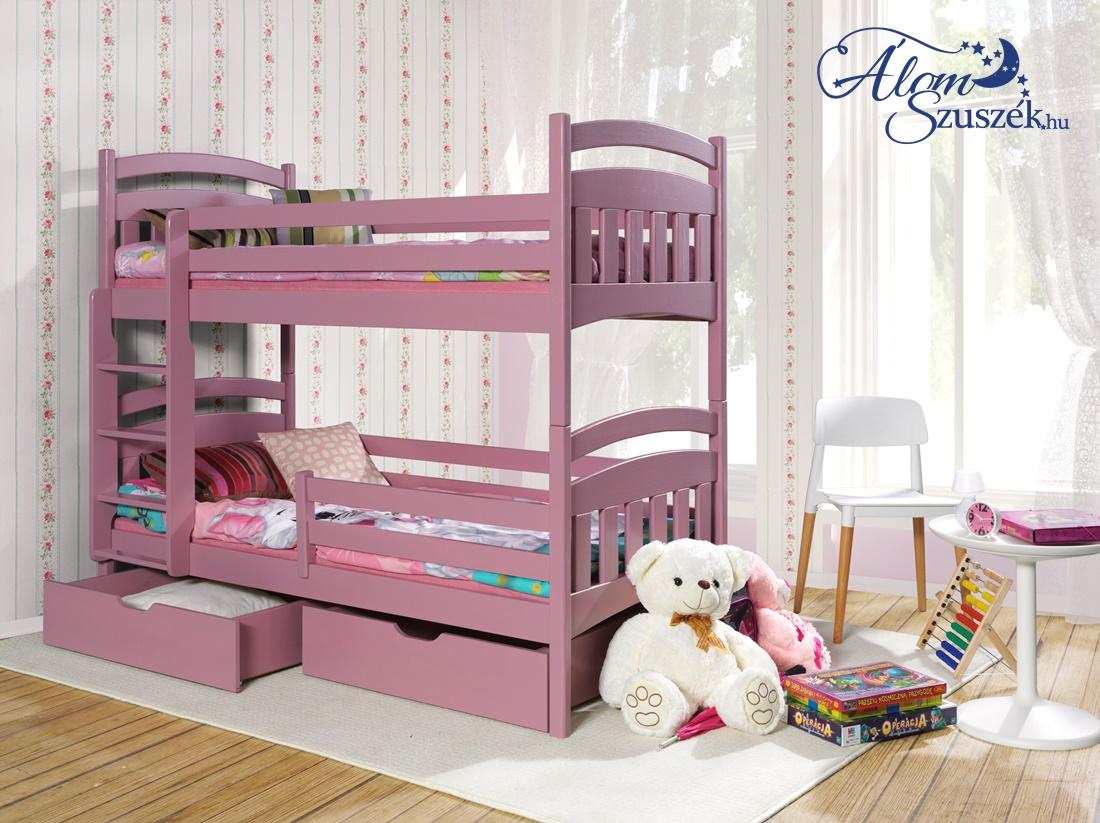 JAKO tömör fa emeletes gyerekágy ágyneműtartóval