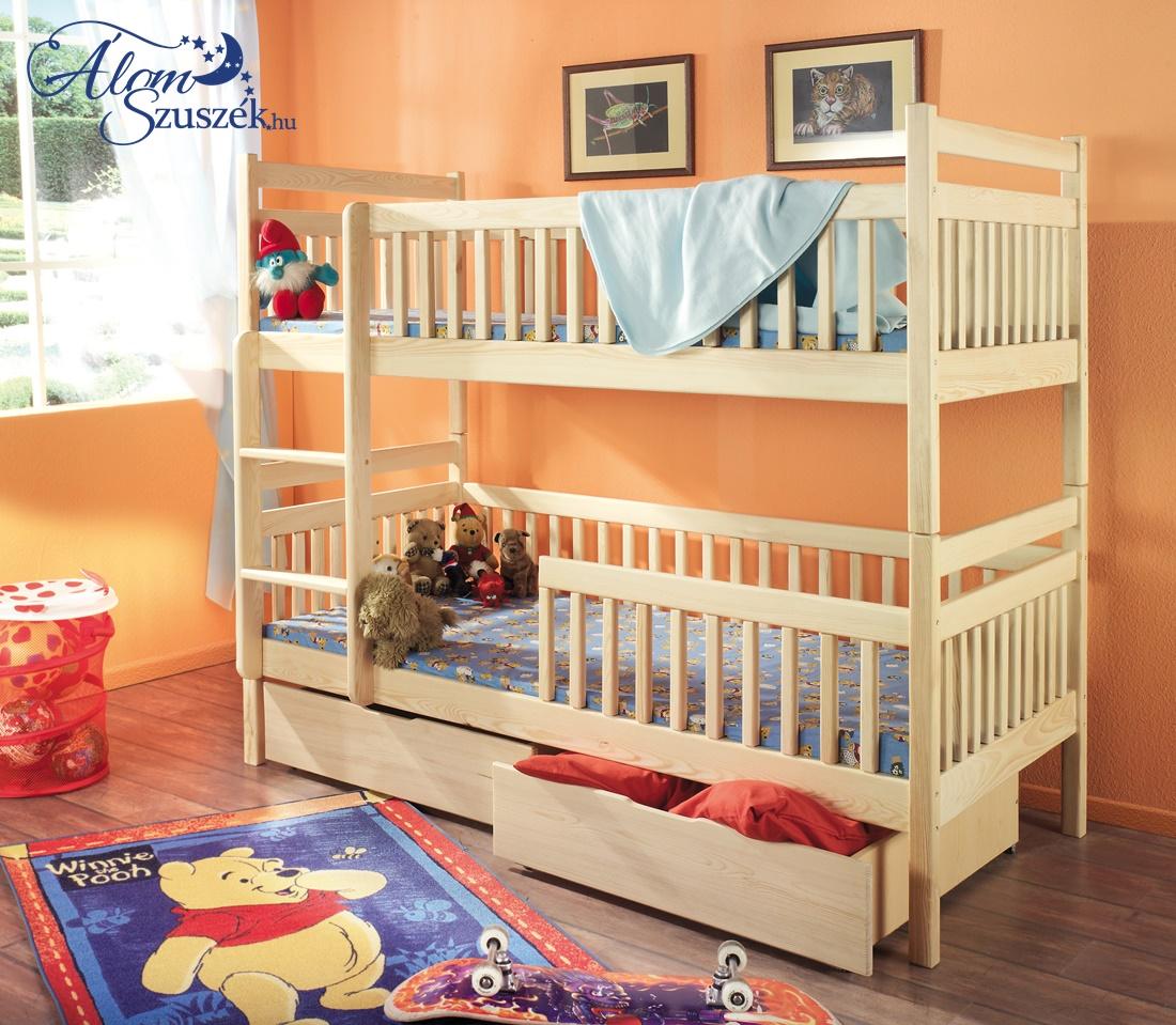 ALEX tömör fa emeletes gyerekágy ágyneműtartóval