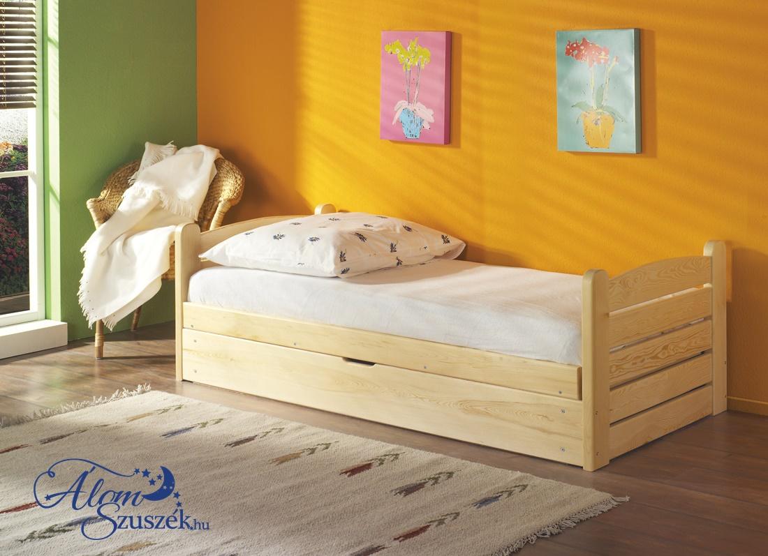 OLA tömör fa gyerekágy felfelé nyíló ágyneműtartóval