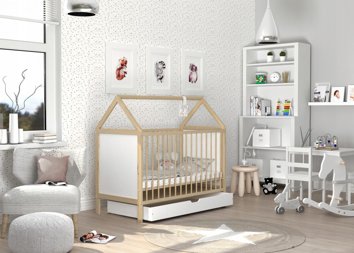 ANA házikó alakú babaágy ágyneműtartóval