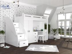 SUZY PLUS laminált bútorlap galériaágy beépített fiókos tárolóval,szekrénnyel,íróasztallal 2.Kép