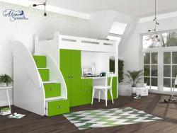 SUZY PLUS laminált bútorlap galériaágy beépített fiókos tárolóval,szekrénnyel,íróasztallal 3.Kép