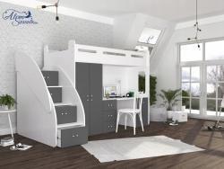 SUZY PLUS laminált bútorlap galériaágy beépített fiókos tárolóval,szekrénnyel,íróasztallal 4.Kép