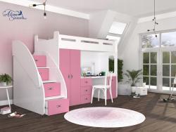 SUZY PLUS laminált bútorlap galériaágy beépített fiókos tárolóval,szekrénnyel,íróasztallal 5.Kép