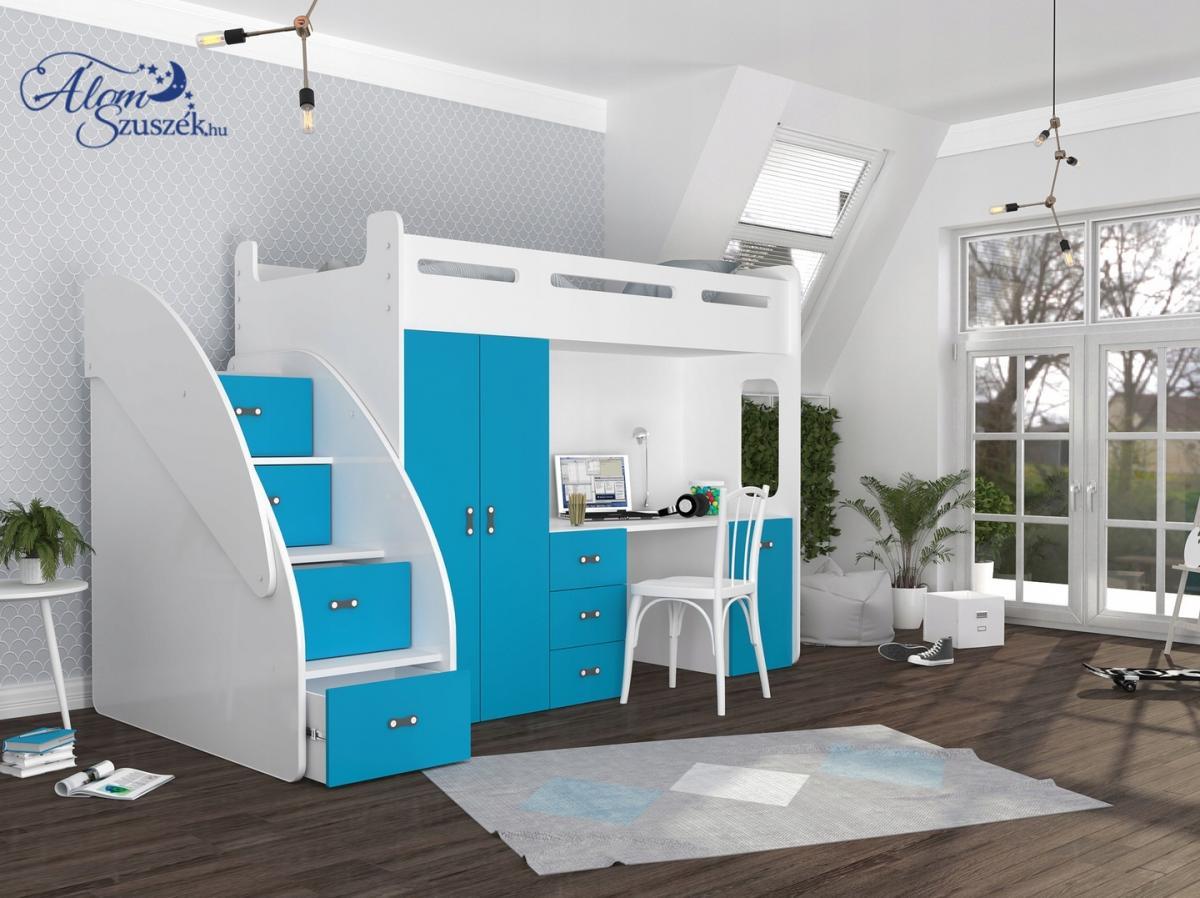 SUZY PLUS laminált bútorlap galériaágy beépített fiókos tárolóval,szekrénnyel,íróasztallal