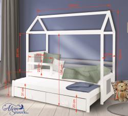 JONAS 2 leesésgátlós kétszemélyes gyerekágy kihúzható ággyal ágyneműtartóval 2.Kép