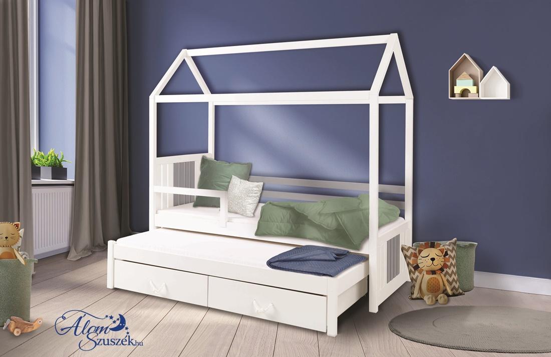 JONAS 2 leesésgátlós kétszemélyes gyerekágy kihúzható ággyal ágyneműtartóval