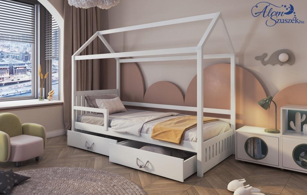 ROZALIA 2 házikó alakú leesésgátlós gyerekágy ágyneműtartóval