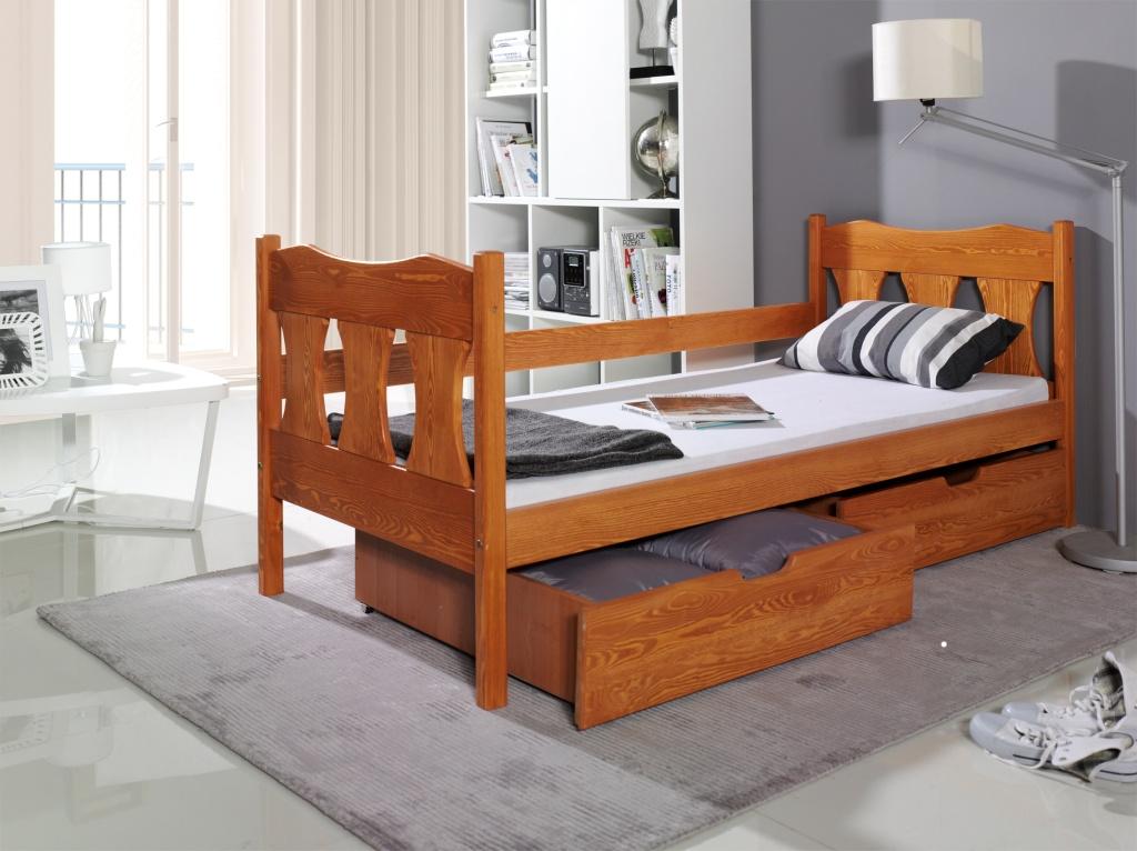 VERONA tömör fa gyerekágy ágyneműtartóval