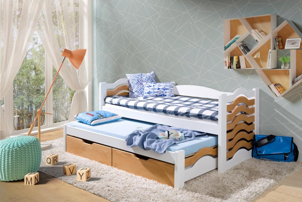 MIKO 2 tömör fa leesésgátlós kétszemélyes gyerekágy kihúzható ággyal ágyneműtartóval