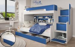 HARRY laminált bútorlap emeletes gyerekágy beépített polccal fiókos tárolóval, ágyneműtartóval 4.Kép