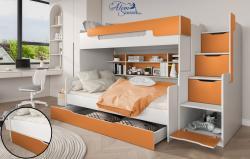 HARRY laminált bútorlap emeletes gyerekágy beépített polccal fiókos tárolóval, ágyneműtartóval 5.Kép