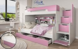 HARRY laminált bútorlap emeletes gyerekágy beépített polccal fiókos tárolóval, ágyneműtartóval 6.Kép