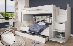 HARRY laminált bútorlap emeletes gyerekágy beépített polccal fiókos tárolóval, ágyneműtartóval 2.Kép